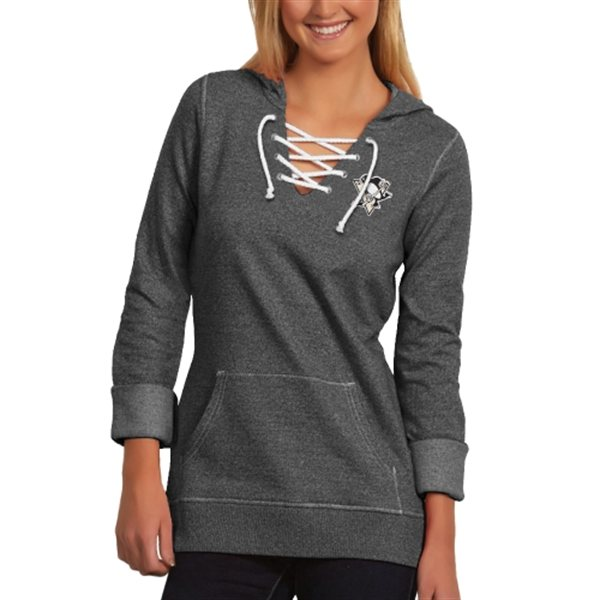 Women's Penguins Antigua Lace-Up Hoodie